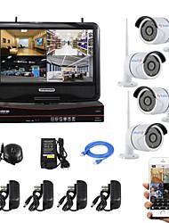 yanse® plugue tela de 10 polegadas e jogar kit NVR sem fio sistema de câmera IP de segurança visão p2p 720p HD IR noite wi-fi CCTV