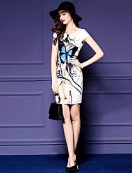 Women's Street chic Animal Print Shift Dress,Round Neck Above Knee Polyester