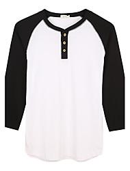 Trenduality® Hombre Escote Redondo Manga 3/4 Camiseta Blanco / Gris / Negro y Blanco-63016