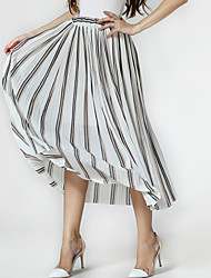 Women's Striped Blue / White Skirts,Holiday / Beach Pleated Elastic Waist High Waist Midi Polyester