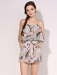 Women's Print Peplum Bohemian Style Off-The-Shoulder Casual Jumpsuits,Vintage / Holiday Strap Sleeveless