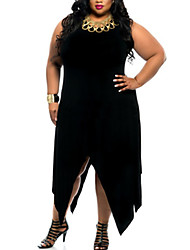 Women's Plus Size / Casual/Daily Simple Loose Dress,Solid Round Neck Maxi Sleeveless Black Polyester Summer