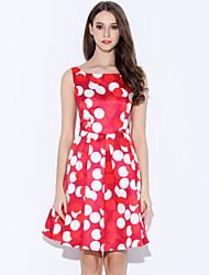 Gaine Robe Femme Décontracté / Quotidien Vintage,Points Polka Bateau Au dessus du genou Sans Manches Rouge Blanc PolyesterToutes les