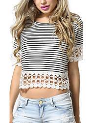 Women's Striped White T-shirt,Round Neck Short Sleeve