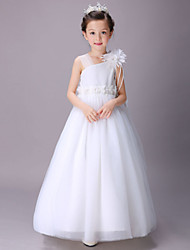 Ball Gown Floor-length Flower Girl Dress - Cotton / Satin / Tulle Sleeveless One Shoulder with