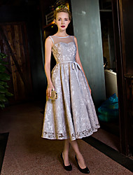 Cocktail Party Dress A-line Scoop Tea-length Lace / Organza / Satin with Bow(s) / Lace / Pearl Detailing