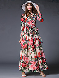 Women's Holiday Vintage / Boho Chiffon Dress,Floral Round Neck Maxi Long Sleeve Pink Polyester Spring Mid Rise Micro-elastic Thin