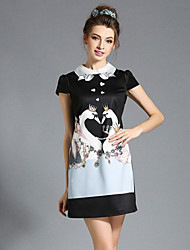 AOFULI Plus Size Women's Dress Embroidered Print A Line Short Sleeve Short Dress
