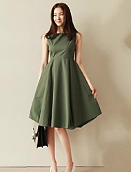 Women's Vintage Simple Solid A Line Crew Neck Knee-length Dress