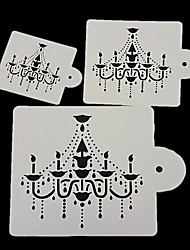 3Pcs Chandelier Cake Stencil Design Fondant Cake Decorating Spray Printing Mold Kitchen Baking Tool