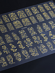 3D Nail Art Full Nail Sticker Golden Color ,60 Decals/Sheet,5 Different Styles in 1 Sheet,For 5 Pairs of Hands-YILIN-81G