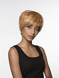 Comfortable  Short Straight Hair Remy Hand Tied Top woman's wig