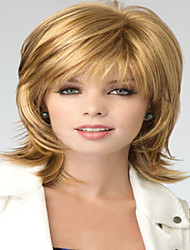 Fashionable Sweet Full Bang Gloden Long Length Straight Synthetic Hair Wig