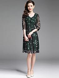 Women's Street chic Animal Print A Line /Elegant Chiffon Dress,V Neck Knee-length