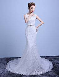 Trumpet / Mermaid Wedding Dress Court Train Off-the-shoulder Cotton / Lace with Beading / Lace