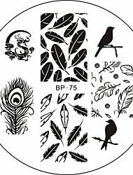 Dragon oiseaux plumes nail art modèle image de timbre plaque né jolie
