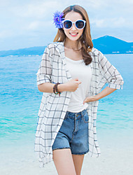 Women's Beach Street chic Summer Shirt,Check Shirt Collar ½ Length Sleeve White / Black Silk / Polyester Thin