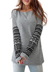 Women's Print Gray Blouse,Round Neck Long Sleeve