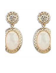 Super Retro Palace Elegant Women 3 Colors Oval Alloy Pierced Drop Earrings