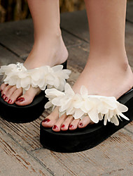 Women's Shoes Fabric Platform Flip Flops Sandals Outdoor / Dress / Casual Black / Almond