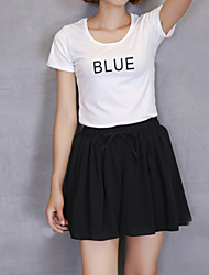 Women's Solid Dark Blue / Pink / White / Black Skirts,Casual / Day / Street chic Mini