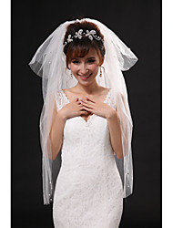 Wedding Veil Four-tier Elbow Veils / Fingertip Veils Cut Edge