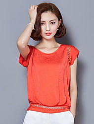 Women's Solid Blue / Green / Orange Blouse,Round Neck ½ Length Sleeve