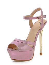 Women's Shoes PU Stiletto Heel Peep Toe Sandals Dress / Casual Black / Pink / Silver / Gold