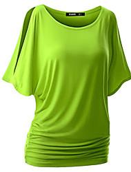 T-shirt Da donna Casual Sensuale / Moda città Estate,Tinta unita Rotonda Cotone / Rayon Rosso / Bianco / Nero / Grigio / Verde / Giallo