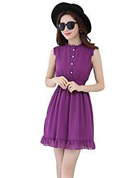 De las mujeres Gasa Vestido Simple Un Color Mini Escote Redondo Poliéster