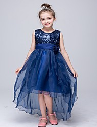 Girl's Party/Cocktail Dress,Polyester Summer / Spring / Fall Blue / Red / White