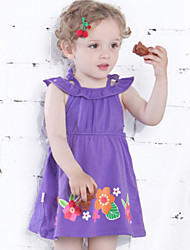 Girl's Purple Dress,Floral Cotton Summer