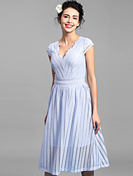 Baoyan® Women's V Neck Short Sleeve Tea-length Dress-160109