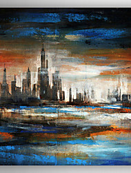 Ручная роспись Пейзаж / Абстрактные пейзажиModern 1 панель Холст Hang-роспись маслом For Украшение дома