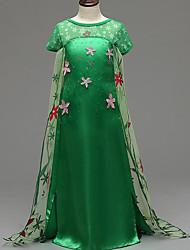 Vestido Chica de-Verano-Poliéster-Verde