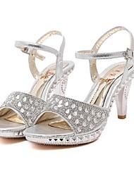 DamenKleid-Glanz-Konischer Absatz-Vorne offener Schuh-Silber / Gold