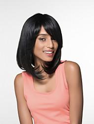 natürliche schwarze reizend mittlerer Länge remy Menschenhaar capless Perücken für Frau