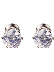 Clear AAA Zircon Silver Stud Earrings