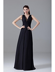 Formal Evening Dress - Open Back A-line V-neck Floor-length Chiffon with Draping Side Draping