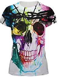 Damen Druck Sexy / Street Schick Lässig/Alltäglich T-shirt,Rundhalsausschnitt Sommer Kurzarm Weiß Nylon / Elasthan Mittel