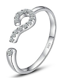 Sterling Silver Ring Question Mark Silver Plated Ring Adjustable Fashion Jewelry for Women Wedding Engagement CZ Ring