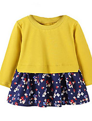 Two Pcs Look Floral Long Sleeve Girls Dress