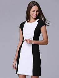 Women's Simple Patchwork Loose Dress,Round Neck Knee-length Polyester
