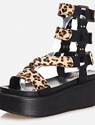 Черный / С животными принтами-Женская обувь-Для офиса / Для праздника / На каждый день-Дерматин-На платформе-На платформе / Гладиаторы-