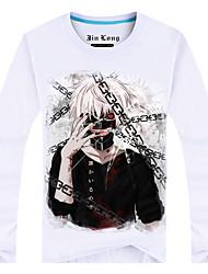 Inspiriert von Tokyo Ghoul Ken Kaneki Anime Cosplay Kostüme Cosplay-T-Shirt Druck Weiß Lange Ärmel Top