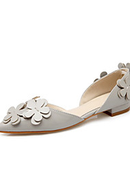 Women's Shoes Leather Flat Heel Comfort Flats Wedding / Party & Evening / Dress / Casual Black / Pink / Gray
