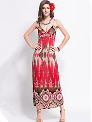 Women's Vintage / Boho Print Classic Slim Backless Sexy Beach Sheath Dress,Strap Maxi