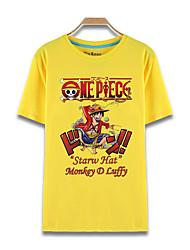 Inspiriert von One Piece Monkey D. Luffy Anime Cosplay Kostüme Cosplay-T-Shirt Druck Gelb Kurze Ärmel Top
