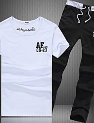Masculino Sets activewear Esporte Letra Algodão Manga Curta Masculino
