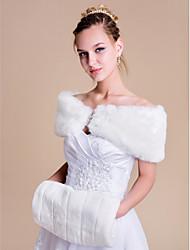 Women's Wrap Shrugs Sleeveless Faux Fur Ivory Wedding Party/Evening Bateau Rhinestone Clasp